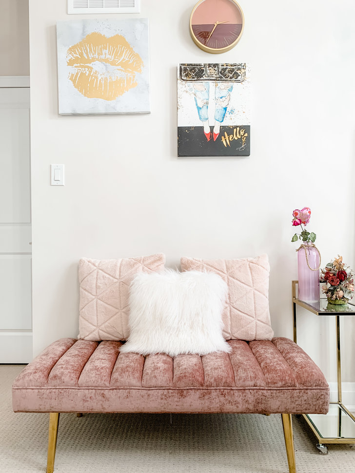 Waiting Area with Pink Couch in Lash Room