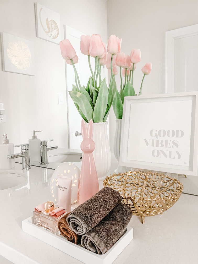 Tulips with Toiletries in Powder Room