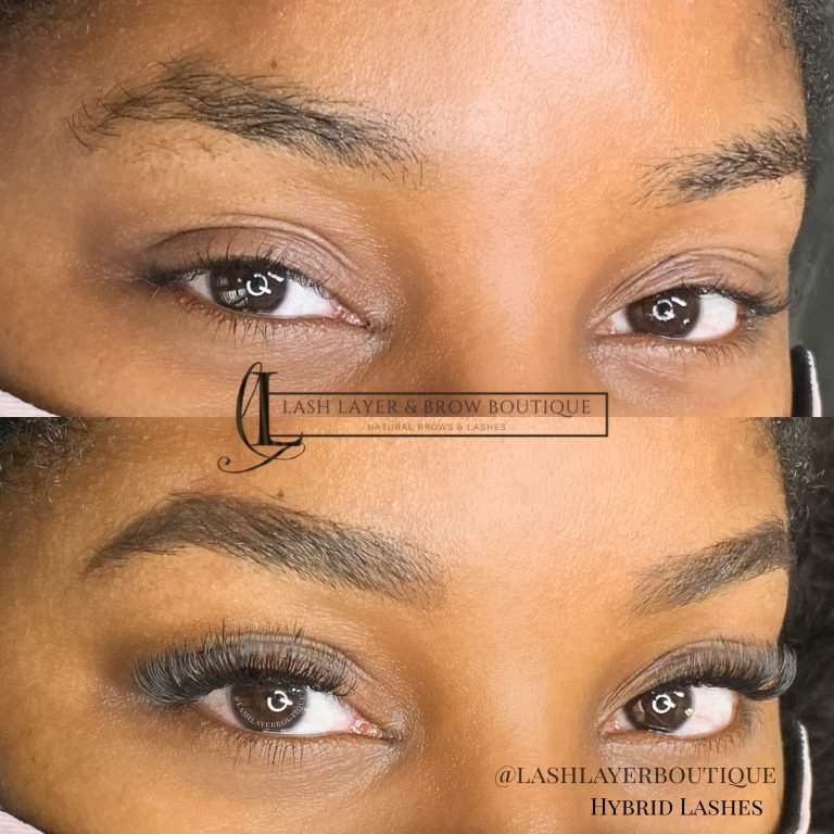 Before & After photo of eyelash extensions and brow wax & tint.