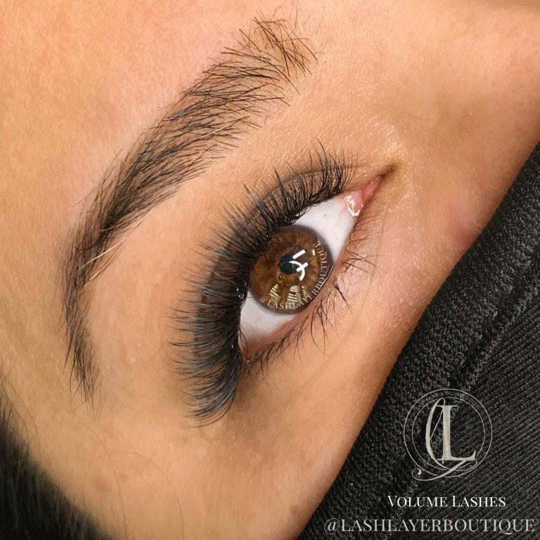 Natural volume eyelash extensions done in pickering Lash Layer boutique