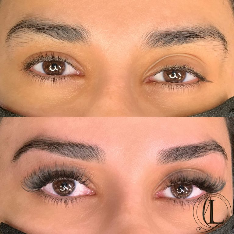 Before & after Eyelash extensions and Brow Wax