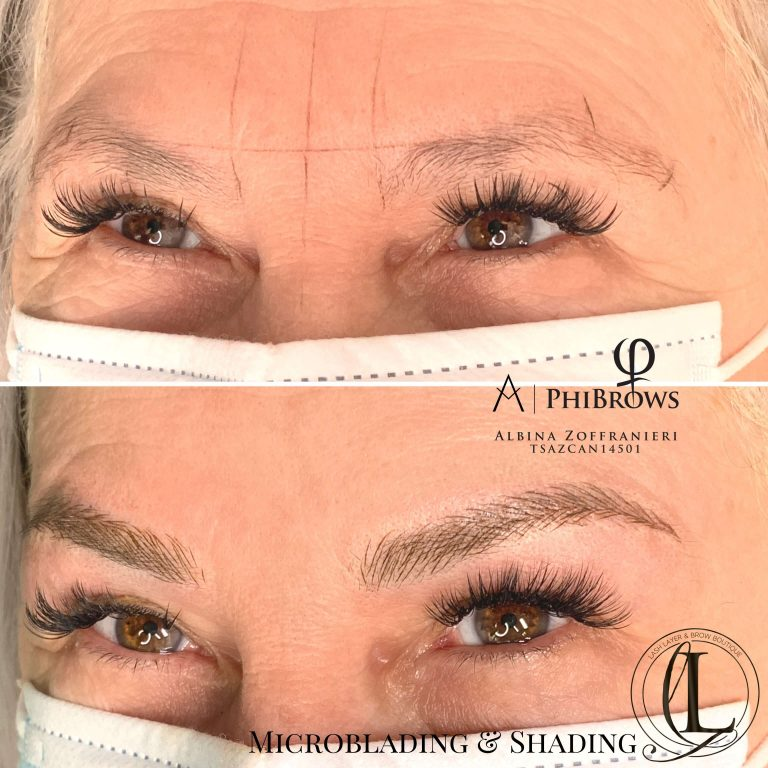Microblading on older woman